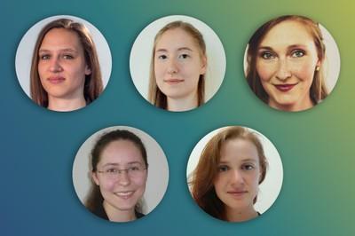 v.o.l.n.r.u.: Antonia Herschel, Kira Bungert, Sabrina Heidler, Claudia Bischoff, Anna Kukleva. Nicht abgebildet: Farima Fischer  Copyright Porträts:privat; die Kollage: Uni Bonn